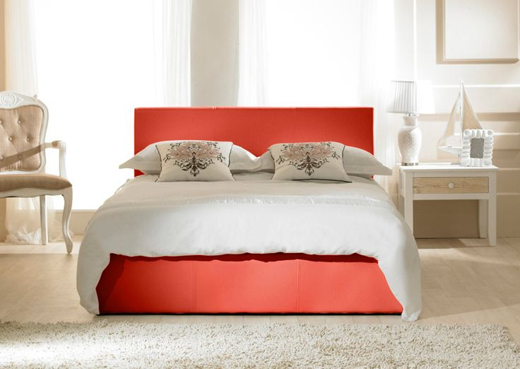 The Madrid Ottoman bed frame in a red faux leather is a fantastic design and would grace either a modern or traditional room setting.