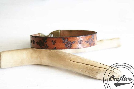 Flowers Bangle Floral Bangle Feminine Bracelet by CraftiveLeather