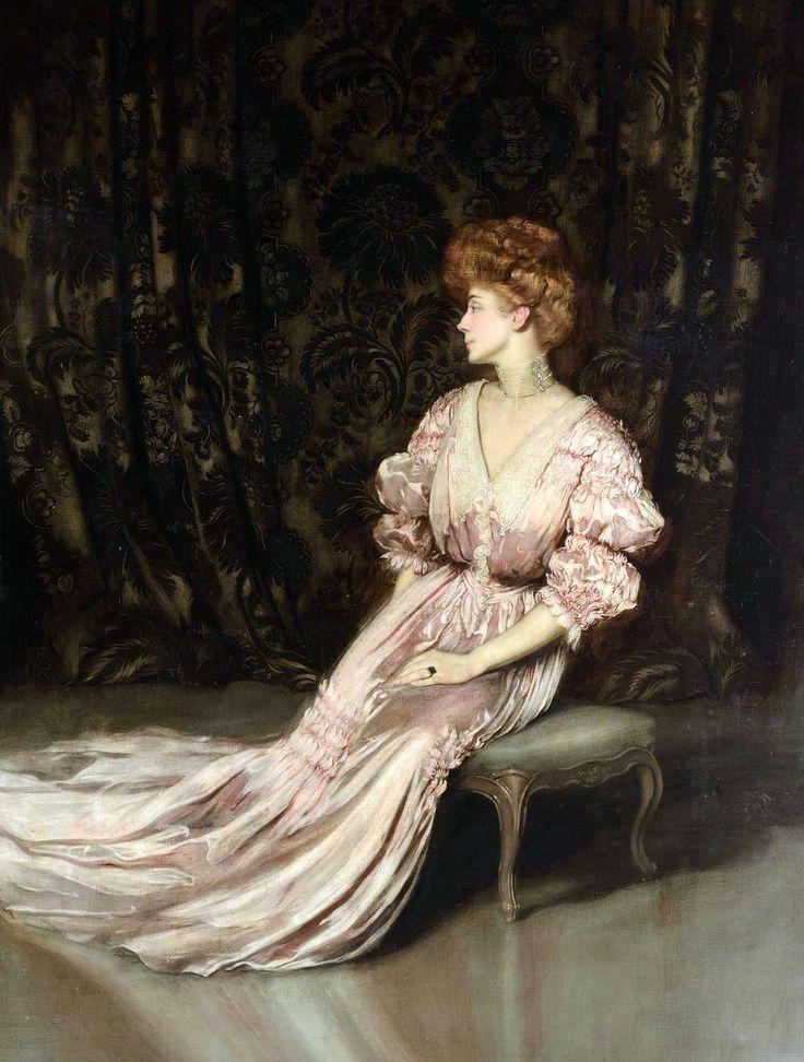 Portrait of Maria Hardouin D'Annunzio (1864-1954), duches of Gallese, wife of Italian writer and politician Gabriele D'Annunzio, prince of Montenevoso by Antonio De La Gandara (French 1861-1917)