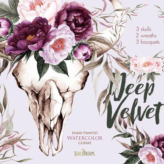 Bull Skull Mit Pfingstrosen Blumenstrausse Blumen Aquarell Etsy