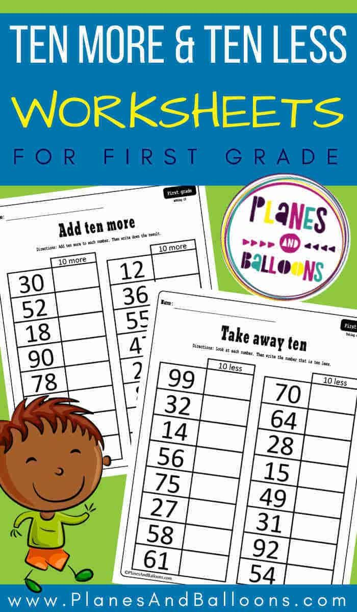 small resolution of 10 more 10 less worksheets grade 1 - Planes \u0026 Balloons   Let's make  learning fun!   Math for first graders