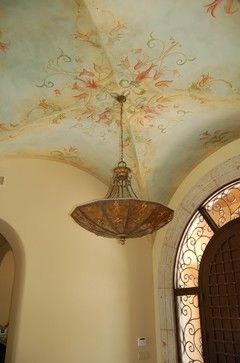 Villa Mia Italian - chandelier and ceiling JAUREGUI Architecture/Construction