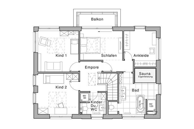 Obergeschoss hausbau hausplan pinterest hauspl ne for Zweifamilienhaus plan