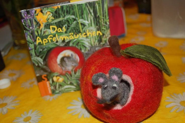 Das+Apfelmäuschen,+Filz Anleitung unter Montessori/Material selbstgemacht