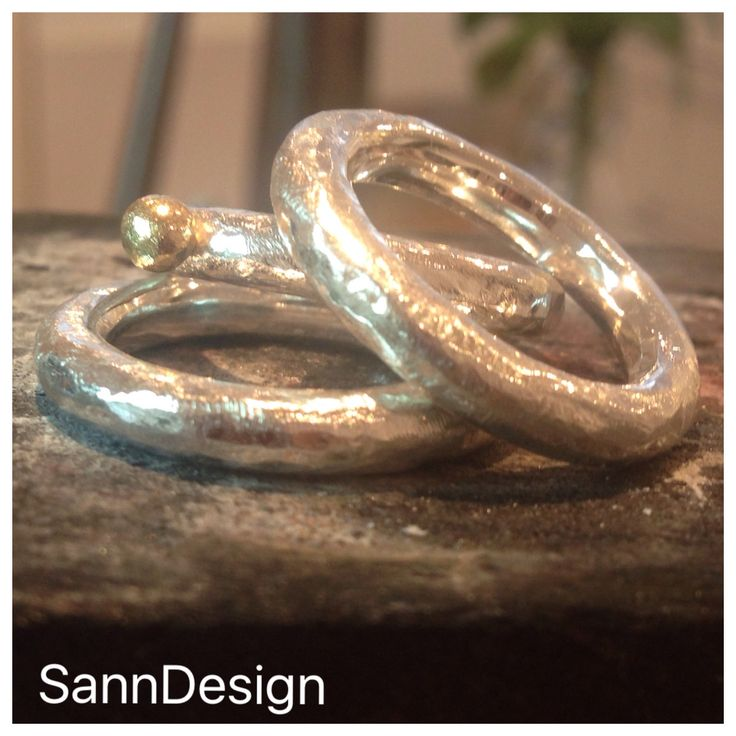 """Rough and beautiful rings  4mm silver ring - 1499:- sek and 4mm silver ring with gold """"ball"""" - 1899:- sek...Order at info@sanndesign.se"""