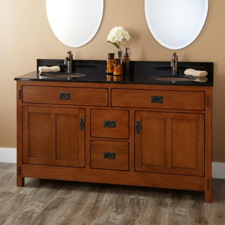 craftsman style double sink vanities | 389127-l-oak-vanity-cabinet-copper.jpg