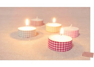 Tealights decorated with masking tape
