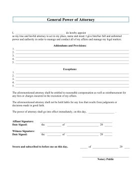 Transfer the power of attorney to your lawyer with this printable legal form in order to let him or her manage your affairs. Free to download and print