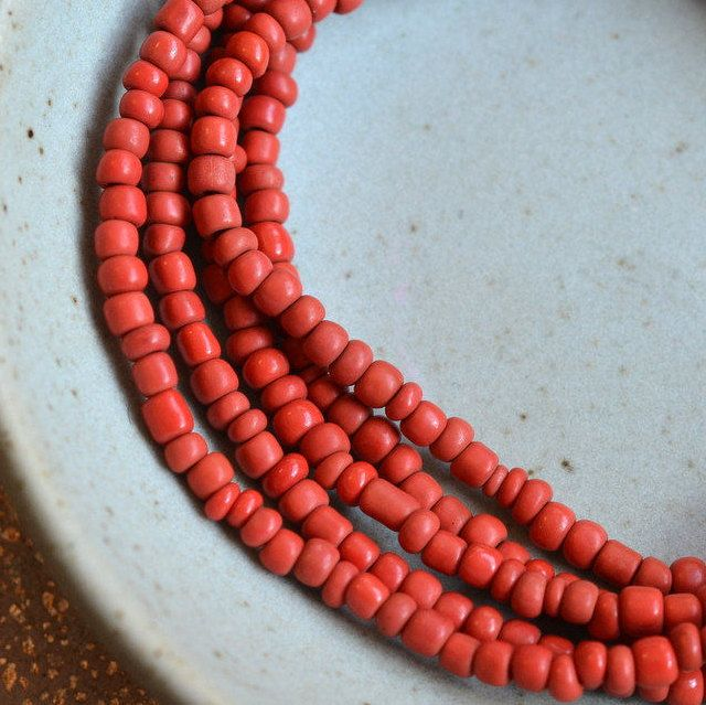 Red Seed Glass Beads,Small Red Beads,Matte Indonesian Glass Beads,Opaque Tube Spacer Beads,Indo Glass Beads,One Strand,44 Inches,BB15-1023