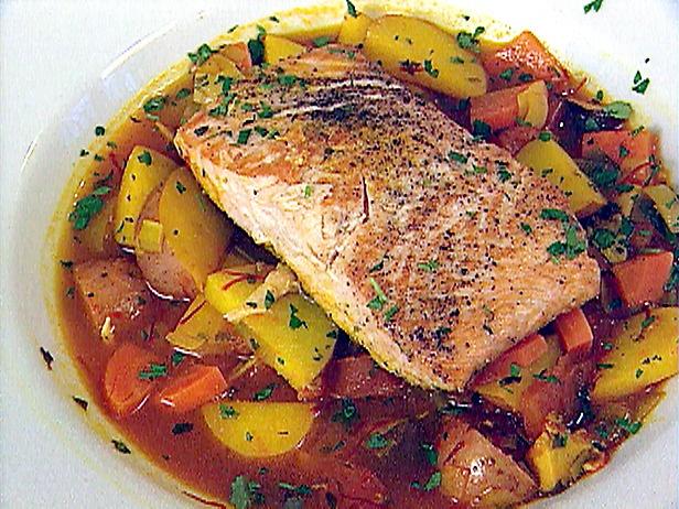 Braised Salmon on potatoes