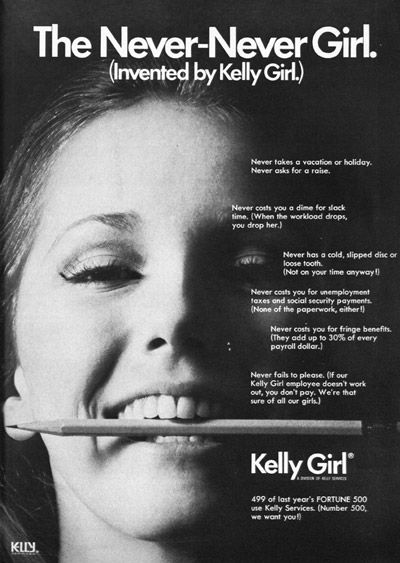 A Kelly Girl advertisement for 'The Never-Never Girl.' (Source: The Office, January 1971, p. 19 via Erin Hatton) | Larger version