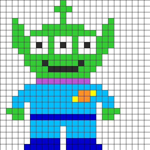 toy story alien / Perler Beads - Hama perlen - Bügelperlen                                                                                                                                                                                 Más
