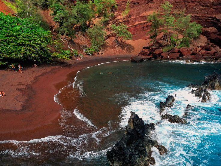 Red Sand Beach (Kaihalulu Beach) Hana, Hawaii water outdoor Nature valley landform body of water River Waterfall rock rapid water feature stream canyon Sea Coast surrounded
