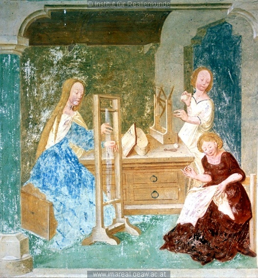 To me, it looks like she's doing sprang here rather than weaving.Mary at the loom, fresco at the Church of St. Primus and Felicianus, Slovenia, 1504.