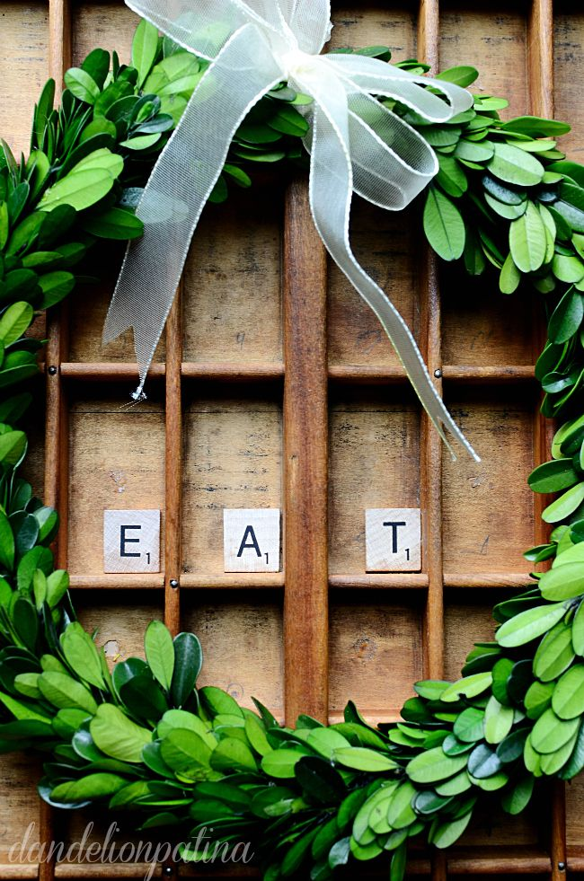 styling a vintage printers tray with boxwood wreaths and scrabble tiles