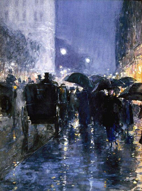 Childe Hassam, Rainy Night, c.1895.  A master at painting night scenes!