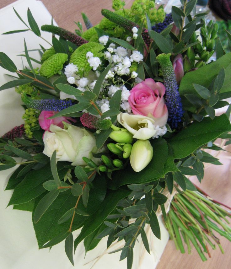 Country style bouquet - handtied and finished with natural raffia