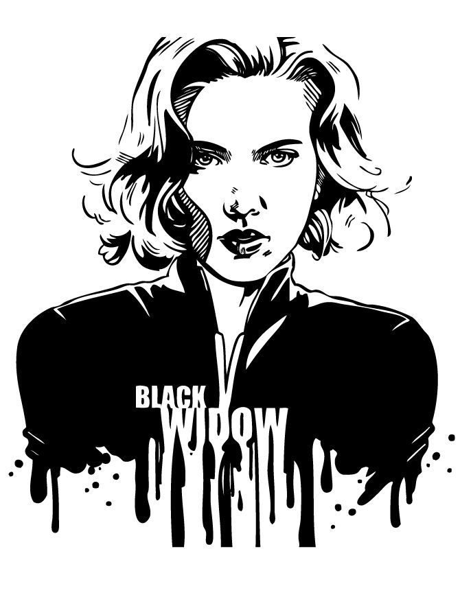 Pin on LineArt Black Widow