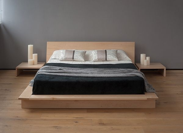 japanese style bed design ideas low platform bed low headboard nightstand - Bed Design Ideas