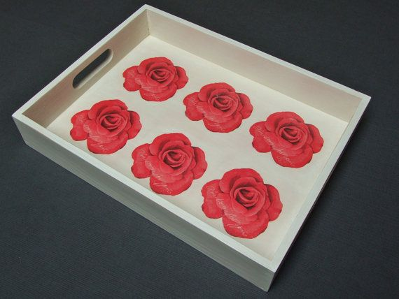 The wooden tray decorated with decoupage technique (Roses - Im born for you), hand-painted with acrylic paint , antiqued and and secured with several