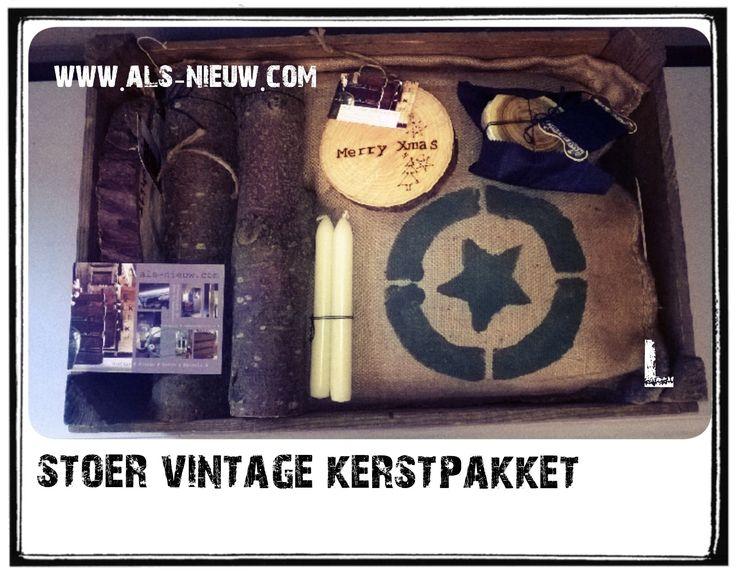 Christmas present # Vintage cadeaus in oude houten veilingkist # www.als-nieuw.com