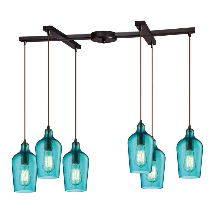 Hammered Glass 6 Light Pendant In Oil Rubbed Bronze And Aqua Glass 10331/6HAQ