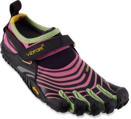 Light, agile and tough, these Vibram FiveFingers Spyridon trail-running shoes boast minimalist construction with trail-hungry outsoles and formfitting, breathable uppers.