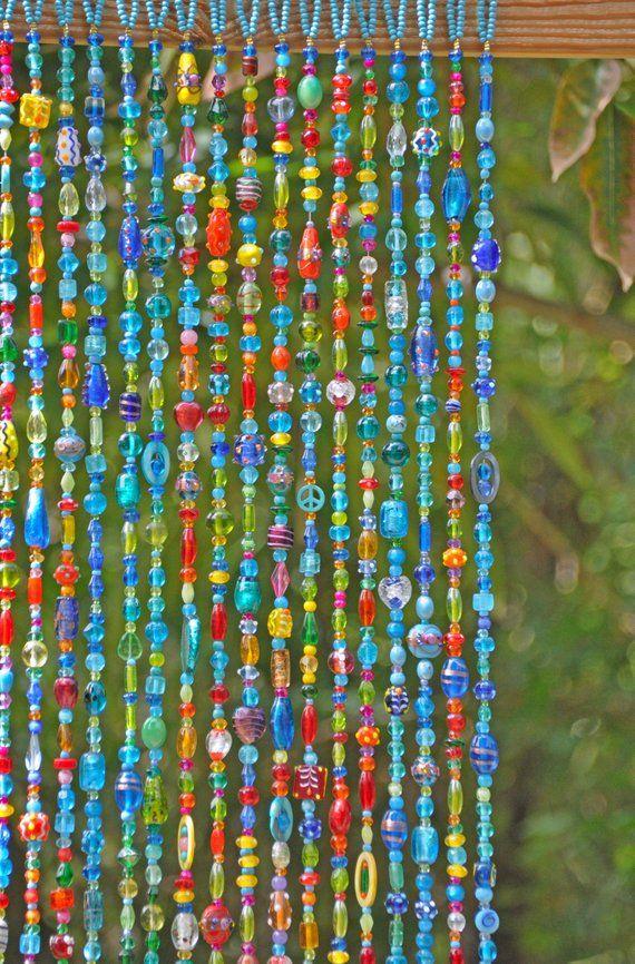 Colorful Bohemian Beaded Curtain Sun Catcherdoor Hand Made Etsy Door Beads Beaded Curtains Hanging Door Beads