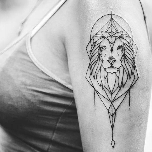 Tattoo Designs Lines: Geometric Lion Tattoo Ile Ilgili Pinterest'teki En Iyi 25