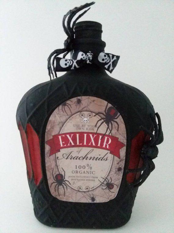 Halloween potion bottle - Halloween Decor - Spider Decor - Gothic