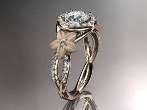Love it!: 14Kt Rose, Pretty Rings, Diamond Rings, Diamonds Leaf, Gold Diamonds, Beautiful Rings, Dream Engagement Rings, Right Hand Rings, Rose Gold