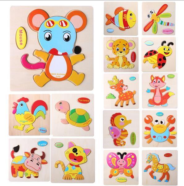 1 Pcs 16 Animals Shapes Jigsaw Hot Wood  Toys For Children Baby Kids Intelligence Educational Toys  puzzle