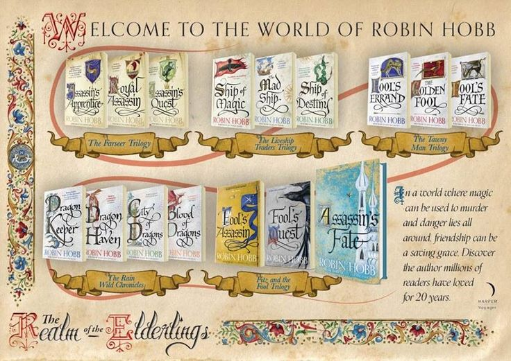 A wonderful infographic from HarperCollinsUK.  This illustrates the multiple series that make up Robin Hobb's Realm of the Elderlings.  Cover art is by artist Jackie Morris.