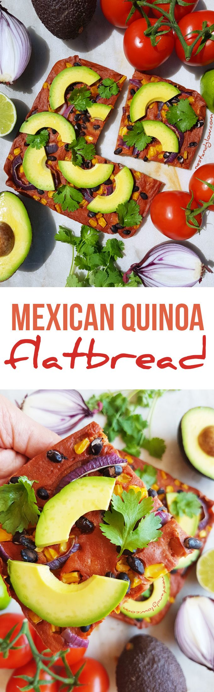 Mexican Quinoa Flatbread Avocado Recipe - Gluten-free and easy via @nestandglow
