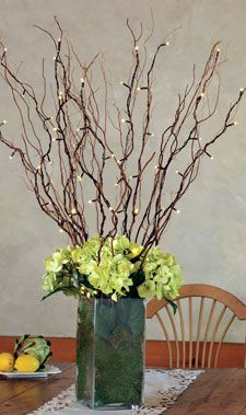 lighted willow branches with full flowers at top of vase - Branch Flower Arrangements
