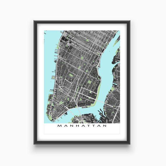 Manhattan Map Print Lower Manhattan New York City by MapsAsArt