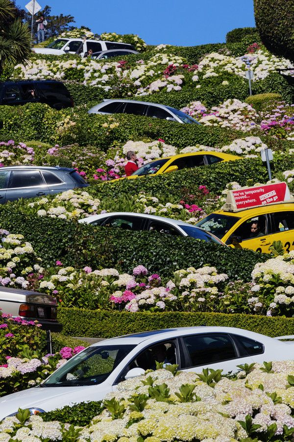 "Lombard Street, San Francisco, California, USA. Taken during busy hour with many tourists. / Photo ""Downhill ..."" by Chaluntorn Preeyasombat"