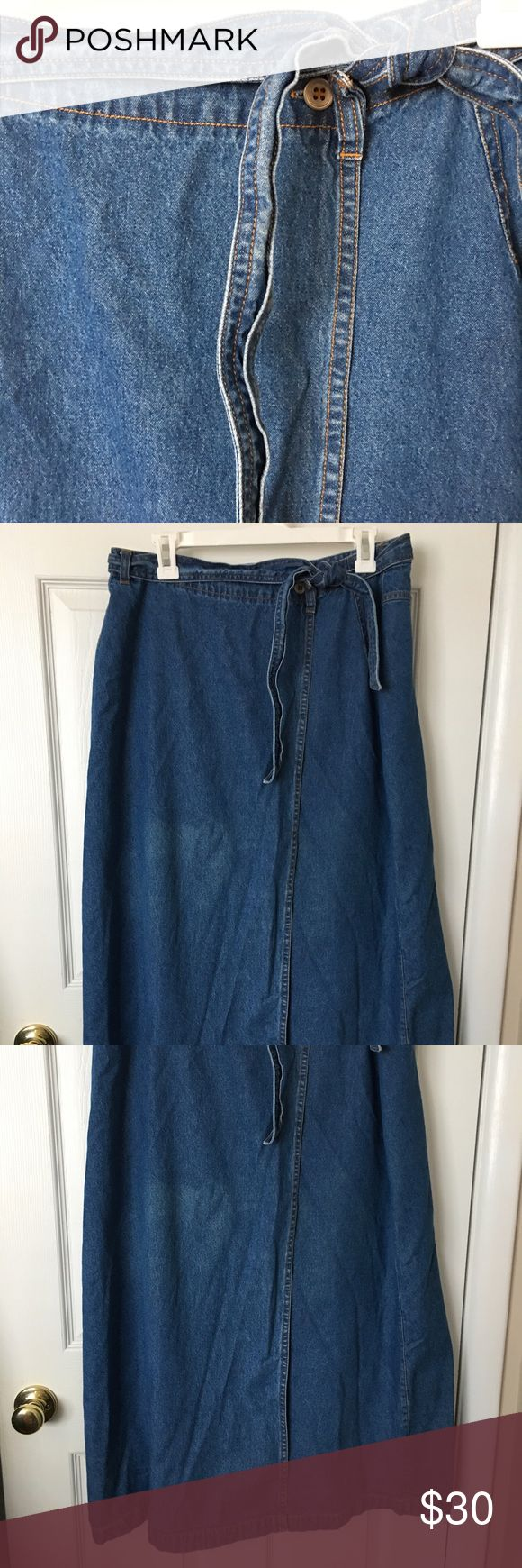 LAURA GAYLE Wrap Maxi Denim Skirt This is a cutie on excellent condition. Has two buttons on waist to wrap and a Denim belt for decor and fasten the waist. Back has Jeans shape. Straight line. Sz 16. Smoke and pet free. #maxiskirt #maxidenimskirt #denimskirt #lauragayle #bohostyle Laura Gayle Skirts Maxi