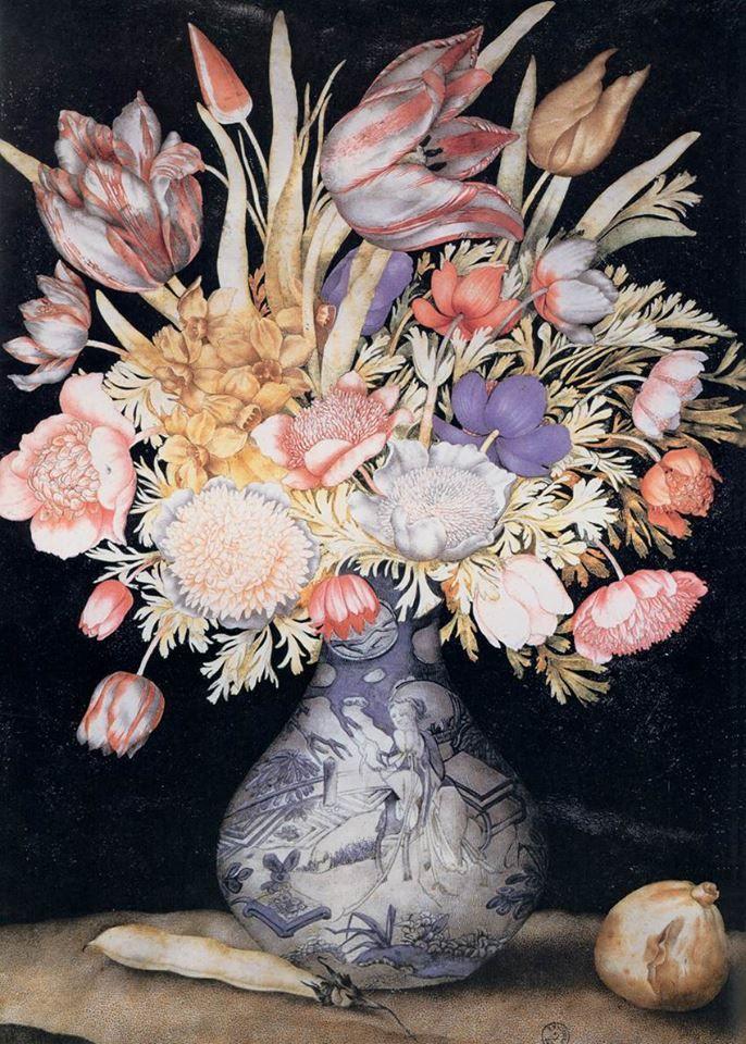 Giovanna Garzoni, Vaso cinese con fiori, un fico e un fagiolo, 1625-1650, Gabinetto dei Disegni e delle Stampe degli Uffizi, Firenze.