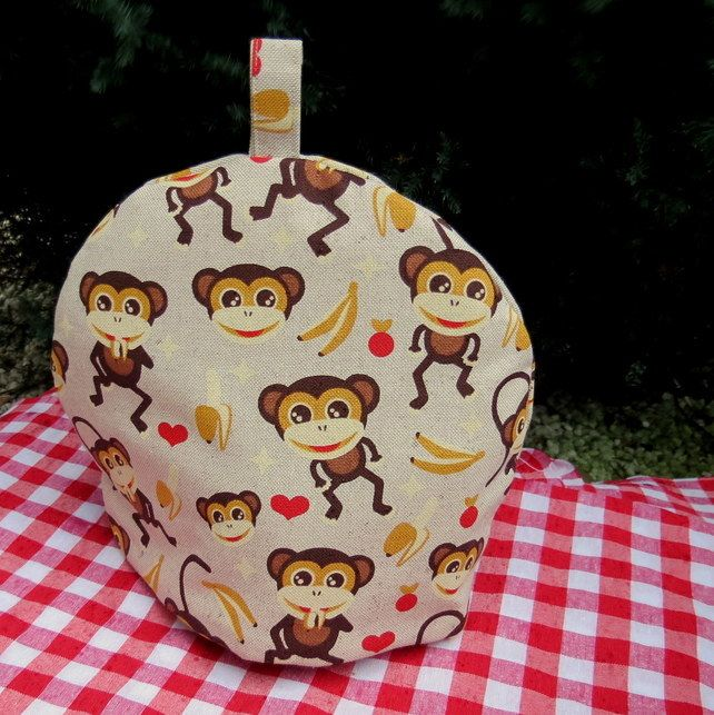 Monkeys.  A small tea cosy, made to fit a two cup teapot.   £12.80