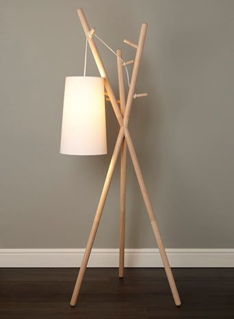 BHS // Illuminate // Logan Coat Stand Floor Lamp // blonde wood tripod coat stand base with loose fabric flex cable and tapered cylinder shade