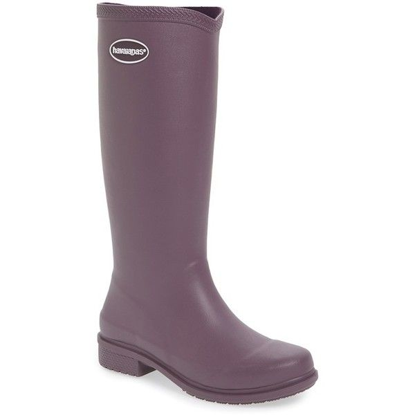 Women's Havaianas 'Galochas Hi Matte' Waterproof Rain Boot ($75) ❤ liked on Polyvore featuring shoes, boots, purple, patterned rain boots, waterproof rain boots, purple rubber boots, wide calf knee high boots and waterproof wellington boots