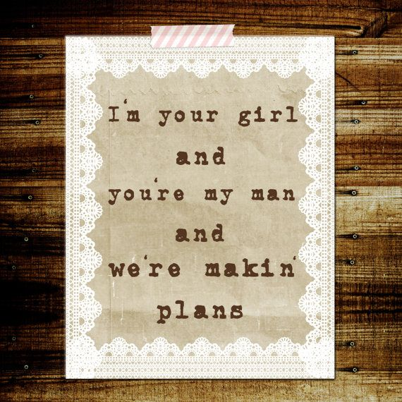 Miranda Lambert Makin Plans song lyrics Poster print 8x10 wedding reception decor. love this song
