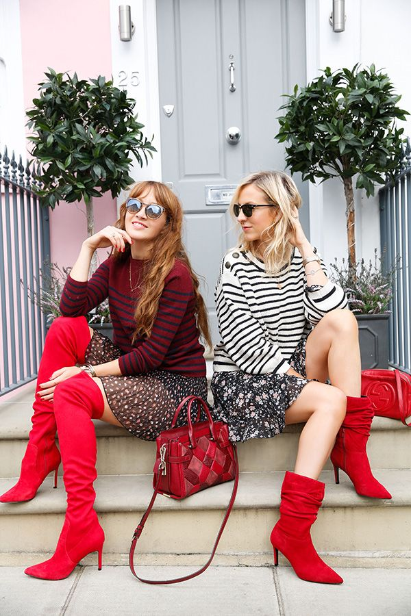 Slouch boots outfit, Red boots outfit