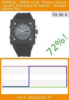 CEPHEUS - CP900-622A - Montre Homme - Quartz Analogique et Digitale - Bracelet Silicone Noir (Montre). Réduction de 72%! Prix actuel 54,96 €, l'ancien prix était de 199,00 €. http://www.adquisitio.fr/cepheus/cp900-622a-montre-homme