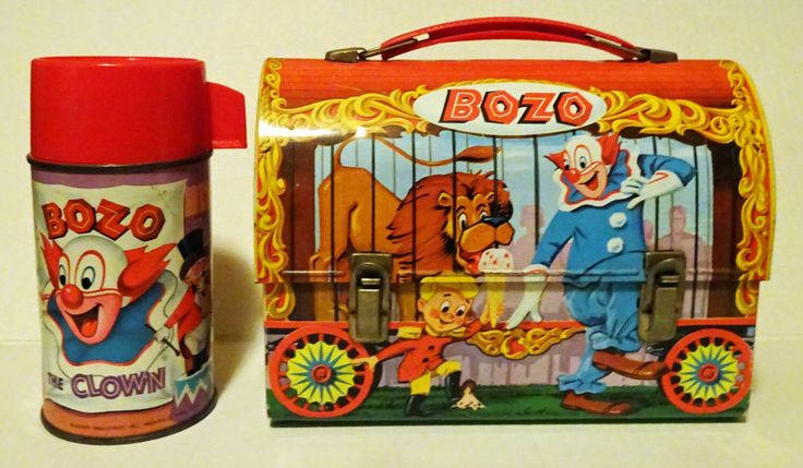 Bozo The Clown Lunchbox with thermos metal dome vintage Aladdin lunch box 1963 by rubyinthesky on Etsy https://www.etsy.com/listing/210766461/bozo-the-clown-lunchbox-with-thermos