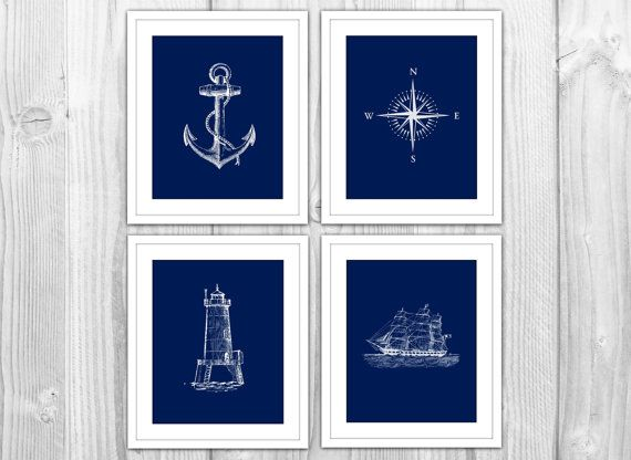 Antique Nautical Bathroom Ideas: Navy Nautical Set Of 4 Art Prints