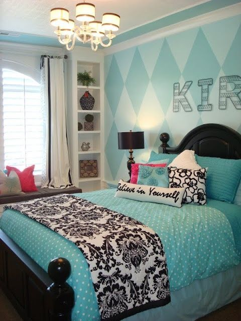 Teal Teen Rooms | Teal/Turquoise/Aqua With Black, White And Pink Accents