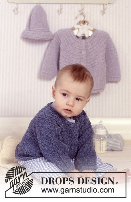 BabyDROPS 11-14 - Jacket or jumper with round yoke and hat in Passion. - Free pattern by DROPS Design