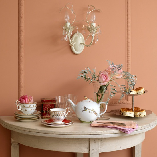 tea table! For dining room (with a similar wall color)